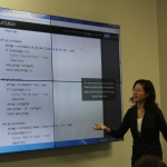 Student presents code for final digital humanities project in Claremont McKenna College advanced DH course
