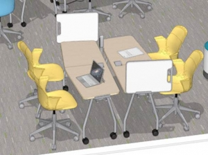 Steelcase drawing of Verb tables & chairs