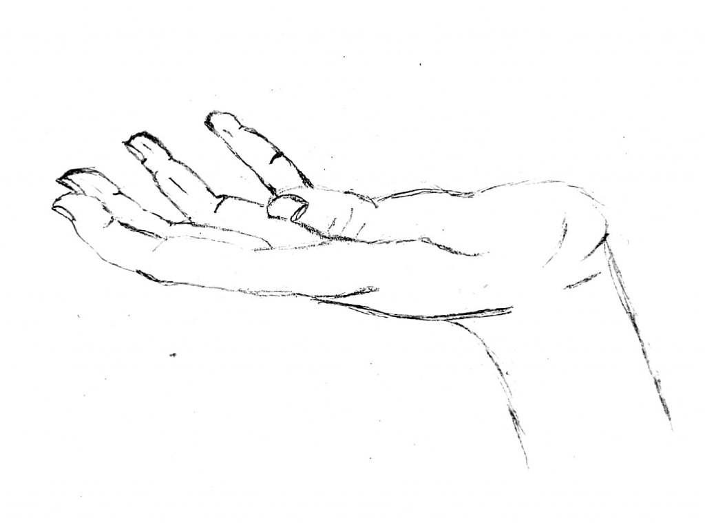 Sketch of an open hand, palm facing up