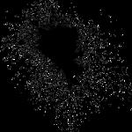 Black ink splatter on a white page